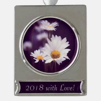Camomile dreams silver plated banner ornament