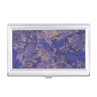 Camouflage against blue flower business card holder