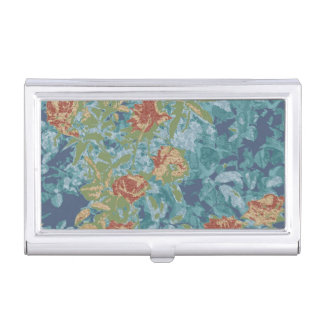 Camouflage and flowers business card holder