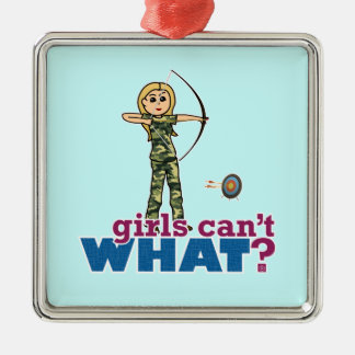 Camouflage Archery Girl - Blonde Christmas Ornament