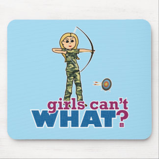 Camouflage Archery Girl - Blonde Mouse Pad