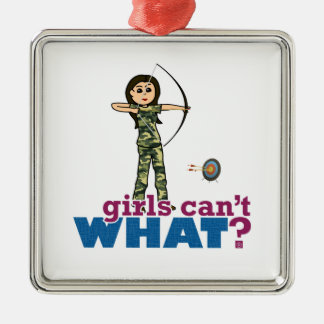 Camouflage Archery Girl - Light Christmas Ornament