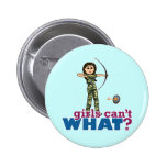 Camouflage Archery Girl - Light Pinback Button