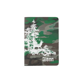 Camouflage Army Pattern of leaves trees Military Passport Holder