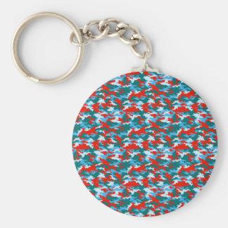 Camouflage Basic Round Button Key Ring