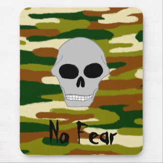 Camouflage Browns and Greens Skull Face No Fear Mouse Mat