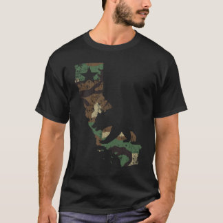 Camouflage California Flag State Bear T-Shirt