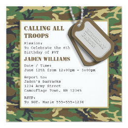 Camouflage birthday cards invitations zazzle camouflage camo birthday party with dog tags card bookmarktalkfo Image collections