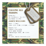 "Camouflage / Camo Birthday Party with Dog Tags 5.25"" Square Invitation Card"