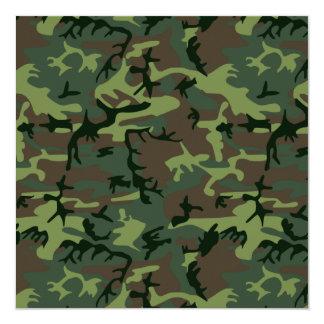 Camouflage Camo Green Brown Pattern 13 Cm X 13 Cm Square Invitation Card