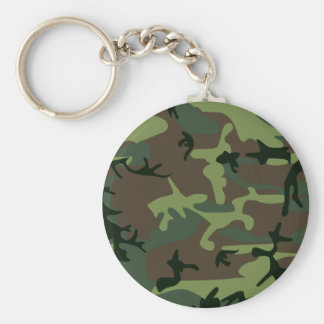 Camouflage Camo Green Brown Pattern Basic Round Button Key Ring