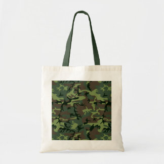 Camouflage Camo Green Brown Pattern Budget Tote Bag