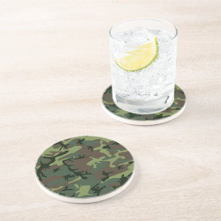 Camouflage Camo Green Brown Pattern Coasters