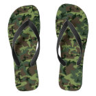 Camouflage Camo Green Brown Pattern Flip Flops