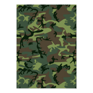 Camouflage Camo Green Brown Pattern 5x7 Paper Invitation Card