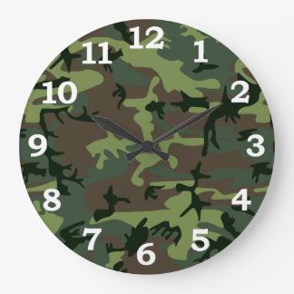 Camouflage Camo Green Brown Pattern Large Clock