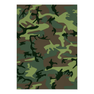 Camouflage Camo Green Brown Pattern Magnetic Invitations
