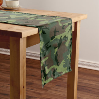 Camouflage Camo Green Brown Pattern Medium Table Runner