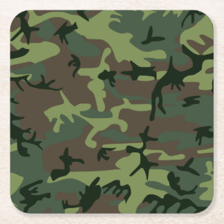 Camouflage Camo Green Brown Pattern Square Paper Coaster