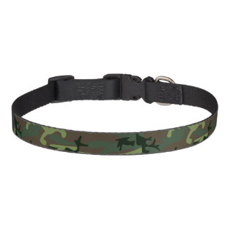 Camouflage Camo Green Brown Pattern Pet Collar