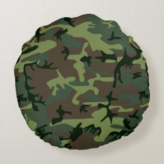 Camouflage Camo Green Brown Pattern Round Cushion