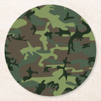 Camouflage Camo Green Brown Pattern Round Paper Coaster