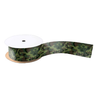 Camouflage Camo Green Brown Pattern Satin Ribbon