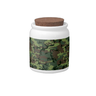 Camouflage Camo Green Brown Pattern Candy Dish