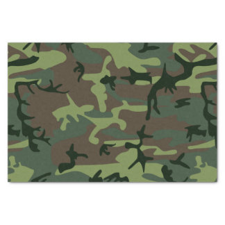 Camouflage Camo Green Brown Pattern Tissue Paper