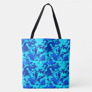 Camouflage Camo Pattern Print Blue Tote Bag