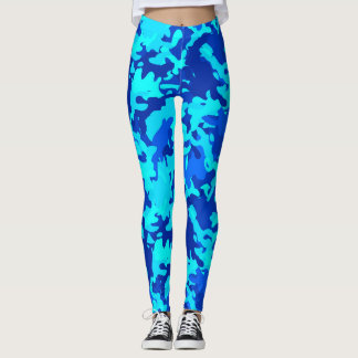 Camouflage Camo Print Blue Leggings