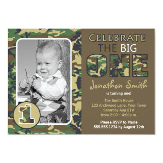 Camouflage / Camo Theme First Birthday Card