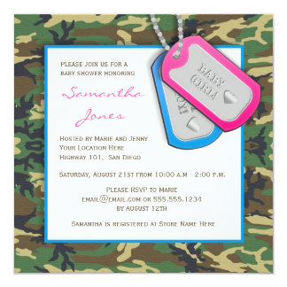 Camouflage / Camo Twins Baby Shower Invite