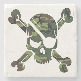 Camouflage Como Army Skull Head Print Stone Coaster