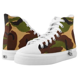 Camouflage Custom Zipz High Top Shoes, US Men 4 Printed Shoes