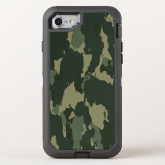 Camouflage Dark Green Gray Beige Camo Design OtterBox Defender iPhone 8/7 Case
