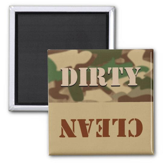 Camouflage Dirty Clean Dishwasher Magnet for Him