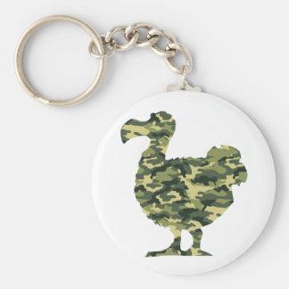 Camouflage Dodo Bird Silhouette Key Ring