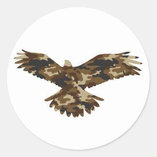 Camouflage Eagle Silhouette Classic Round Sticker