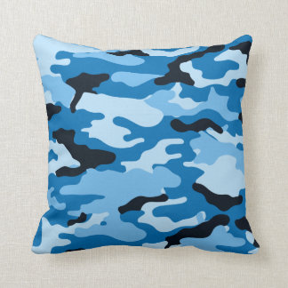 Camouflage Fashion Throw Pillow in Blue
