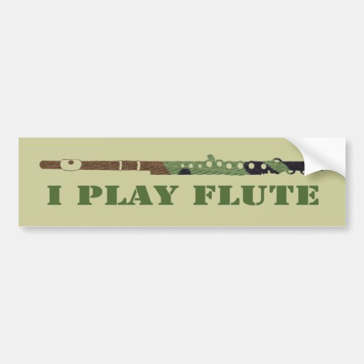 Camouflage Flute Bumper Sticker