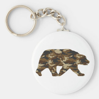 Camouflage Grizzly Bear Silhouette Key Ring