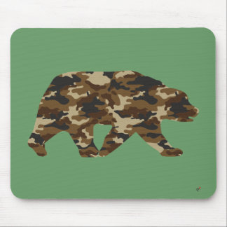 Camouflage Grizzly Bear Silhouette Mouse Pad