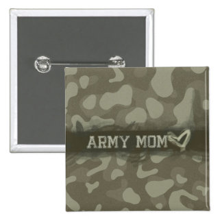 Camouflage Grunge Army Mom Love Buttons