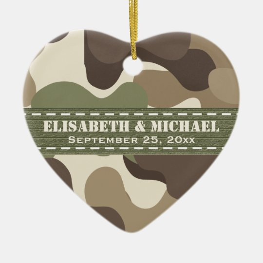 Camouflage Heart Personalised Wedding Ornament