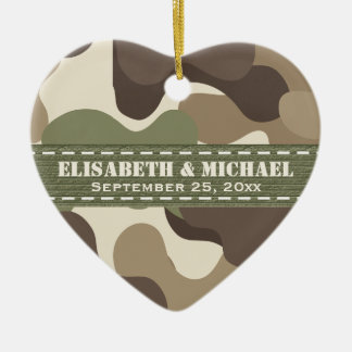Camouflage Heart Personalized Wedding Ornament