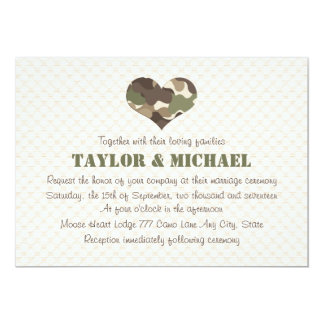 Camouflage Heart Wedding Invites