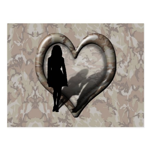 Camouflage Heart - Woman Missing Man Post Cards