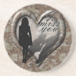 Camouflage Heart - Woman Missing Man (w/Text) Beverage Coasters