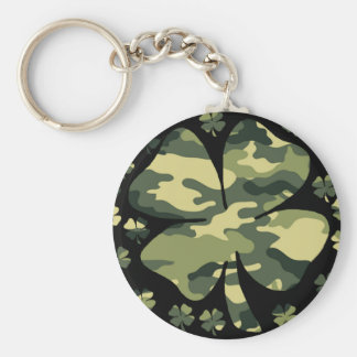 camouflage irish four leaf clover basic round button key ring